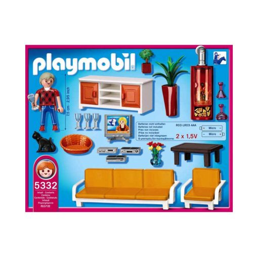 Playmobil Dukkehus dagligstue med pejs bagside