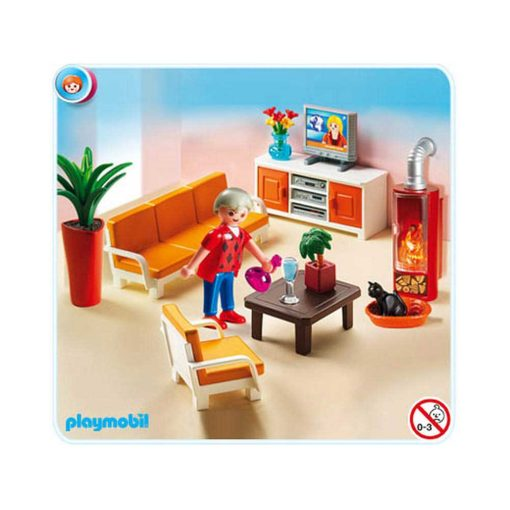 Playmobil Dukkehus dagligstue med pejs indhold