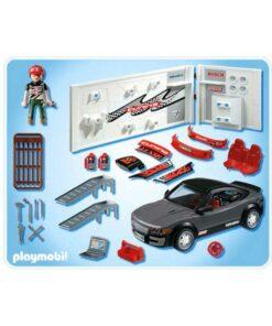 Playmobil sort racerbil med værksted 4366