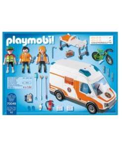 Playmobil ambulance med blinklys indhold