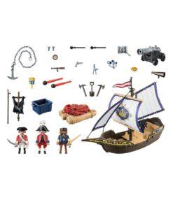 Playmobil Rødjakkesejler skib 70412 indhold