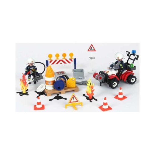 Playmobil julekalender 9486 brand på byggeplads - indhold