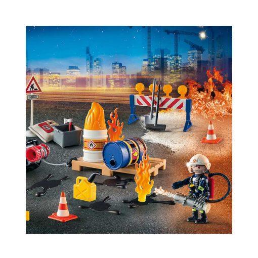 Playmobil julekalender 9486 brand på byggeplads illustration