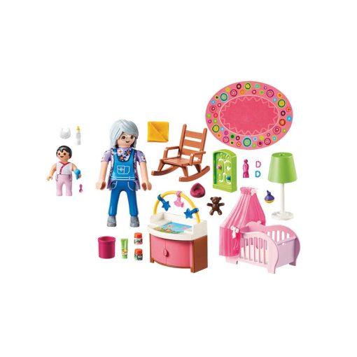 PLaymobil dukkehus børneværelse baby 70210 indhold