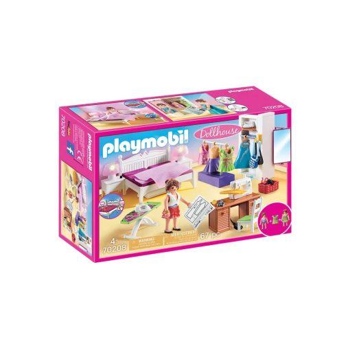 Playmobil dukkehus soveværelse med systue 70208 kasse