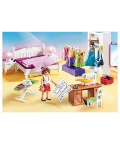 Playmobil dukkehus soveværelse med systue 70208 sybord