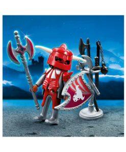 Rød Playmobil ridder med våben 4763 billede