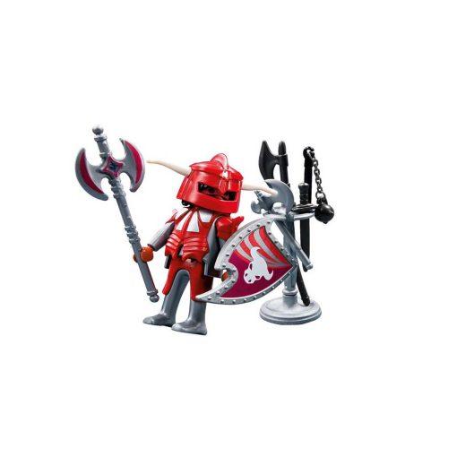 Rød Playmobil ridder med våben 4763 hvid baggrund