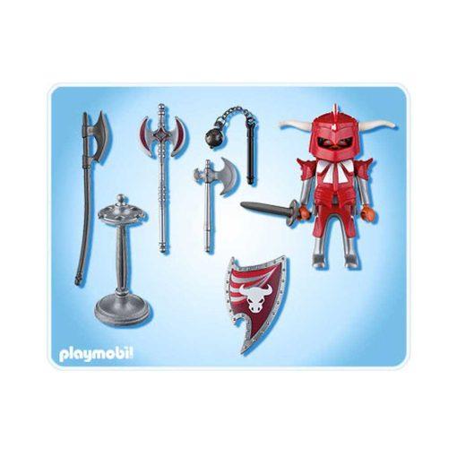 Rød Playmobil ridder med våben 4763 indhold