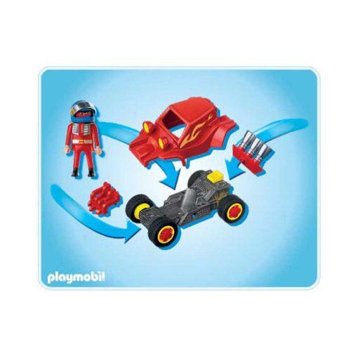 Rød Playmobil stuntcar racerbil 4184 indhold