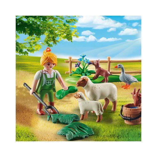Playmobil bondekone med dyr 70608 fodring af dyr